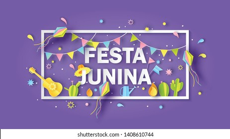 Rectangle frame of Festa Junina festival decorated with elements and text of FESTA JUNINA. Greeting card for Festa Junina festival. paper cut and craft style. vector, illustration.