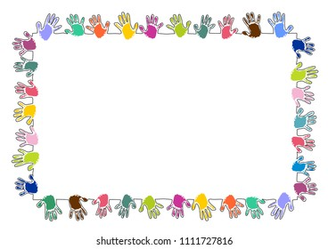 rectangle frame made of colorful handprints