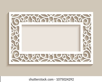 Rectangle frame with ornamental lace border, vector cutout paper decoration, wedding invitation or greeting card design, laser cutting template, eps10