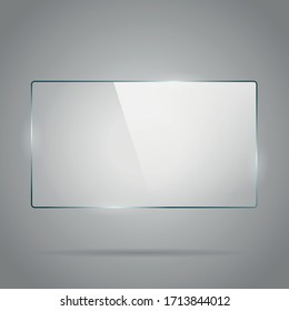 Rectangle glass panel with bright reflection.