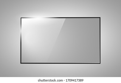 Rectangle Glass plates. Acrylic and glass texture with glares and light. Realistic transparent glass window in rectangle frame