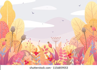Rectangle horizontal nature background with trees, bushes, colorful leaves, dried grass and berries. Floral border with simple plants above autumn landscape. Vector flat style fall foliage decoration.
