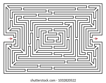 Rectangle labyrinth vector. with entry and exit arrows. Maze game illustration