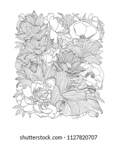 Rectangle of linear vector floral pattern. Black on white