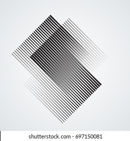 Rectangle Logo with lines.Square unusual icon Design .Black Vector stripes .Geometric shape.
