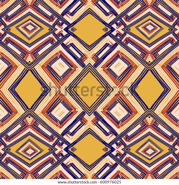 Rectangle mandala hand drawn vector pattern. Geometric romb print in vector pattern. Hand drawn fashion stylish pattern.
