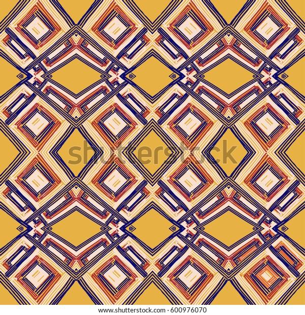 Rectangle mandala hand drawn vector pattern. Geometric romb print in vector pattern. Hand drawn fashion stylish pattern.
