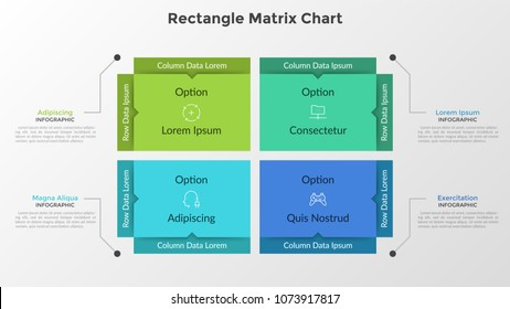 Rectangle matrix chart. Four rectangular elements with thin line pictograms inside and text boxes. Concept of relationship between 4 variables. Modern infographic design template. Vector illustration.