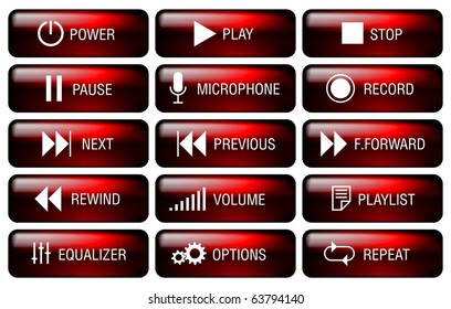 Rectangle media player buttons set with key-top marking.