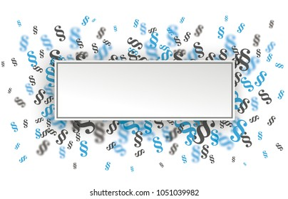 Rectangle paper banner with blue and gray paragraphs on the white. Eps 10 vector file.