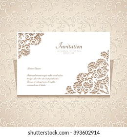 Rectangle paper frame with cutout lace corner ornament, greeting card or wedding invitation template, vector illustration, eps10