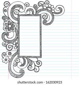 Rectangle Picture Frame Border Back to School Sketchy Notebook Doodles- Illustration Design Element on Lined Sketchbook Paper Background
