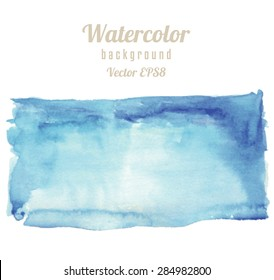 Rectangle spot watercolor texture. Abstract wet watercolor background. Graded wash technique with blue colors. Grunge hand drawn background. Vector illustration.