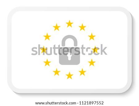 rectangle sticker icon wreath eu padlock stock vector royalty free