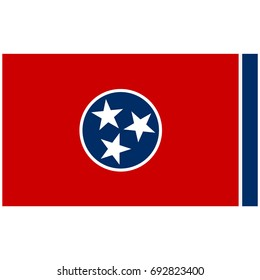 Rectangle Tennessee state flag vector icon isolated on white background. USA Tennessee state flag button