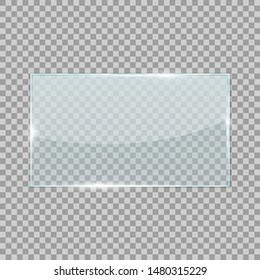 Rectangle transparent glass isolated on checkered background. Vector 3d illustration