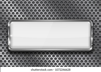 Rectangle white 3d button with chrome frame on metal perforated background. Vector illustration
