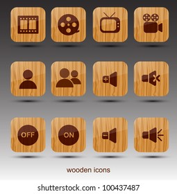 Rectangle wooden icons. Cinema theme.