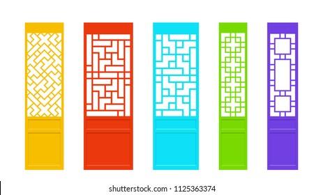Rectangles Chinese door in Asian style, vector art