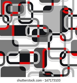 rectangles and lines seamless pattern red, black, grey