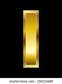rectangular beveled golden font - letter I