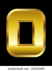 rectangular beveled golden font - letter O