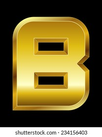 rectangular beveled golden font - letter B