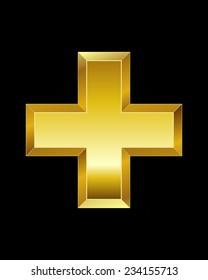 rectangular beveled golden font - plus sign