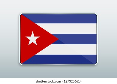 Rectangular button with national flag of Cuba. Icon for language bar.