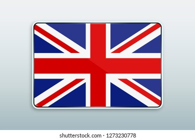 Rectangular button with national flag of United Kingdom. Icon for language bar.