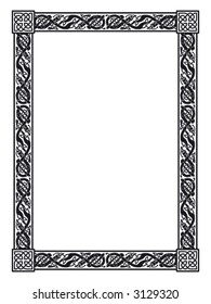 rectangular celtic ornamental frame with entwined dogs and celtic knots