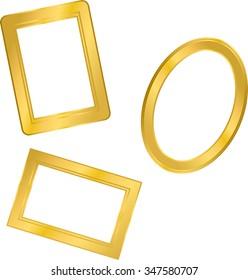 rectangular and circular photo frame, metal gold, interior vector