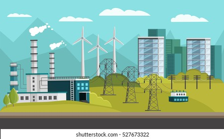 Rectangular composition with orthogonal images of urban houses powerplant turbine towers power transmission lines on hills vector illustration