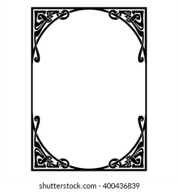 Rectangular decorative frame with art Nouveau.