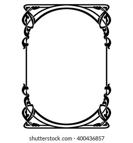 Rectangular decorative frame with art Nouveau ornament.