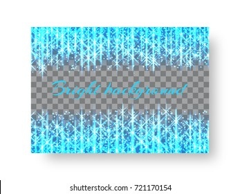 Rectangular design of a New Year greeting card with bright blue neon light strips on a transparent background