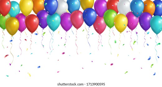 Rectangular festive background. Multicolored realistic balloons and falling confetti. Vector EPS 10