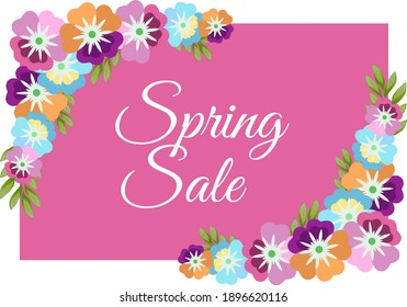 "Rectangular flyer, sticker, sticker for the spring sale: on a pink background, many colors and the inscription ""Spring sale""."