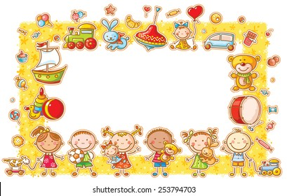 Rectangular frame with cartoon kids, toys and sweets, no gradients
