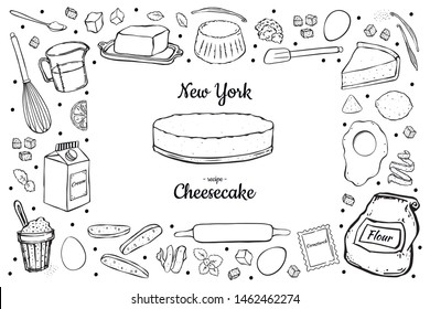rectangular frame cheesecake and ingredients for it black outline on white background