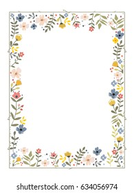 Rectangular frame with a flower pattern