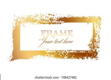 Rectangular frame of gold leaf on the white background for decor of banners, inscriptions, logos and art products in grunge design