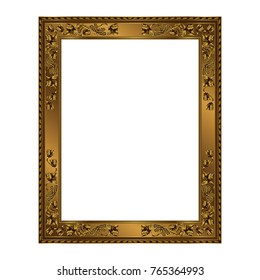 Rectangular frame of golden color on a white background, the vector image