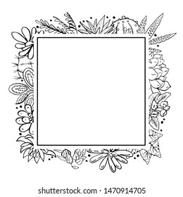Rectangular frame with houseplants, cacti and succulents. Vector hand drawn outline sketch illustration isolated on white background