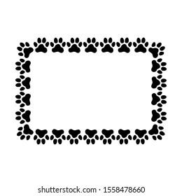 Rectangular frame made of paw prints. Frame for your pet's portrait. Vector illustration.