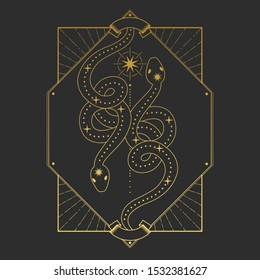 Rectangular frame with stars and two snakes in retro style on a black background