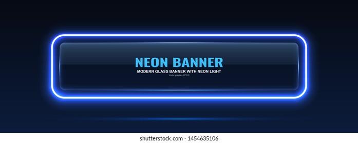 Rectangular glass banner. Transparent billboard with neon lights. Vector illustration.