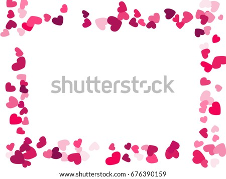 Rectangular Heart Border Vector Valentines Day Stock Vector Royalty