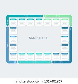 Rectangular infographic design for business presentation, data visualization. Template for 5 different options with title, subtitle and data. Vector illustration in flat style