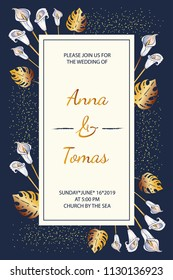Rectangular invitation with white calla flowers and gold tropical leaves on dark background